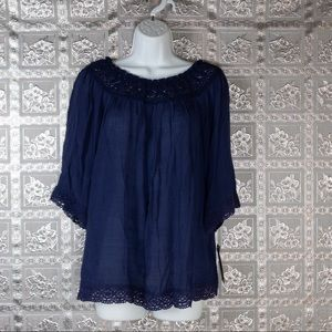 NWT Valerie Stevens Patriot Blue Peasant Top